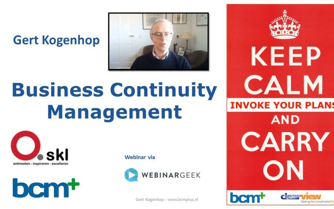 SKL bijeenkomst 5 maart: Gert Kogenhop- Business Continuity Management